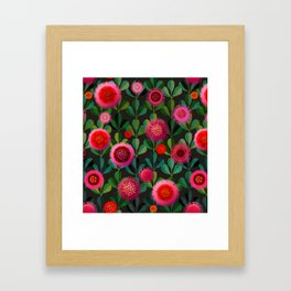 Bright Blooms Hand-Print Floral - Dark Framed Art Print
