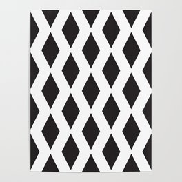 Pattern with black rhombus shapes. Poster
