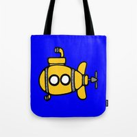 yellow submarine Tote Bags featuring Yellow Submarine by Caroline Blicq