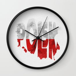 Polska / Poland Typographic Flag Map Art Wall Clock