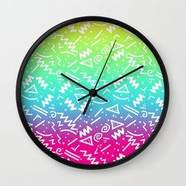 Retro 80's 90's Neon Rainbow Sketched Doodle Wall Clock