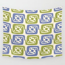 Mid Century Modern Galaxy Pattern 131 Blue and Chartreuse Wall Tapestry