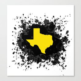 Yellow State of Texas with Black Paint Splatter Canvas Print