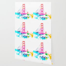 Golden Gate bridge, San Francisco, USA with colorful painting abstract in pink blue yellow Wallpaper