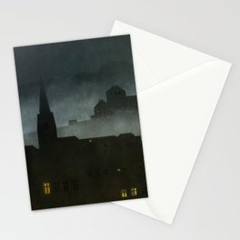 small town with castle Stationery Cards