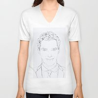 benedict V-neck T-shirts featuring Benedict Cumberbatch by Tatiana D.