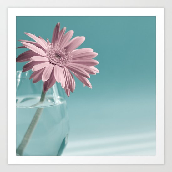 Pink flower on blue background  Art Print