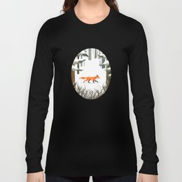 Fox In A Late Winter Snowfall Long Sleeve T-shirt