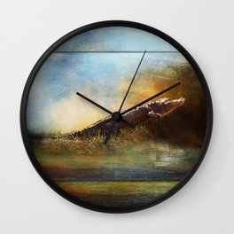Coming Out of the Okefenokee Swamp ~ Alligator ~ Ginkelmier Inspired Wall Clock