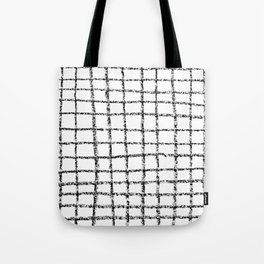 Black and white grid abstract minimal gridded pattern gifts basic nursery home decor Tote Bag