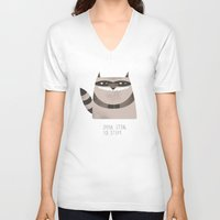 raccoon V-neck T-shirts featuring Sneaky Raccoon by Chase Kunz