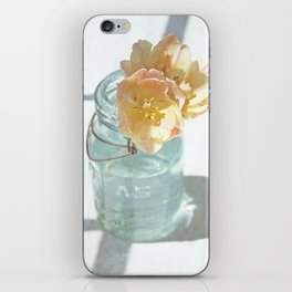 Pink and Yellow Tulips in Vintage Blue Jar iPhone Skin