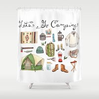 backpack Shower Curtains featuring Let's Go Camping by Brooke Weeber