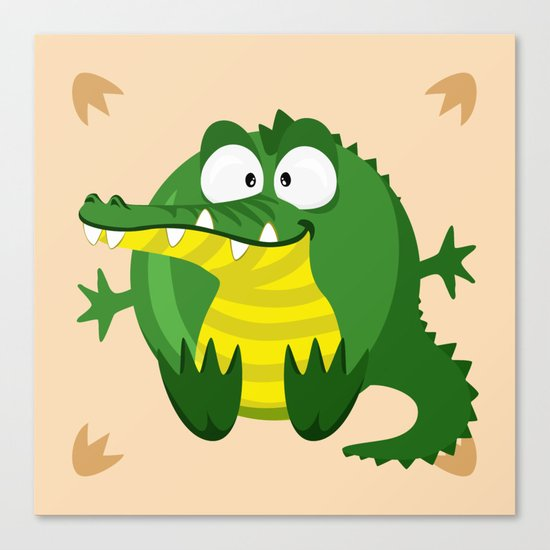 Crocodile from the circle series Canvas Print