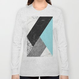 Black and White Marbles and Pantone Island Paradise Color Long Sleeve T-shirt