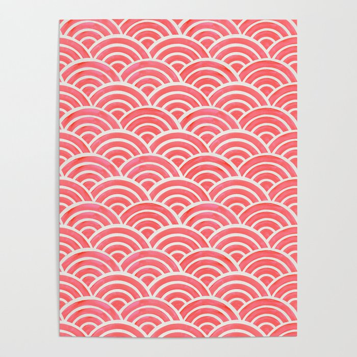 Japanese Seigaiha Wave Pattern – Coral Poster