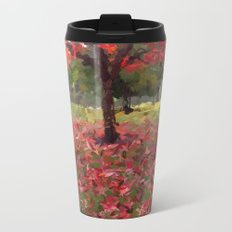 Oil crayon illustration of a red maple tree in the Boston Public Garden Metal Travel Mug