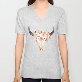 Bull Head Skull Boho Flowers Unisex V-Neck