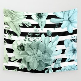 Succulents in the Garden Teal Blue Green Gradient with Black Stripes Wall Tapestry