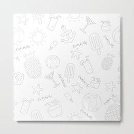 Summer Icon Pattern Metal Print