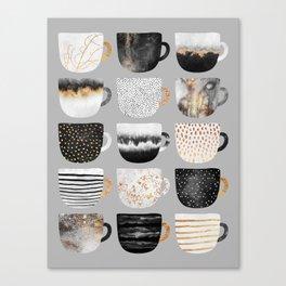 Pretty Coffe Cups 3 - Grey Canvas Print