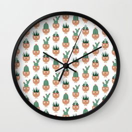 Cute terracotta pots with succulent hairstyles Wall Clock