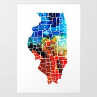 blackhawks Art Prints featuring Illinois - Map Counties by Sharon Cummings by Sharon Cummings