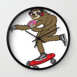 Skater Sloth Donut Wall Clock