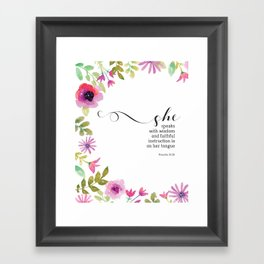 She Speaks with Wisdom Proverbs Scripture Art Framed Art Print