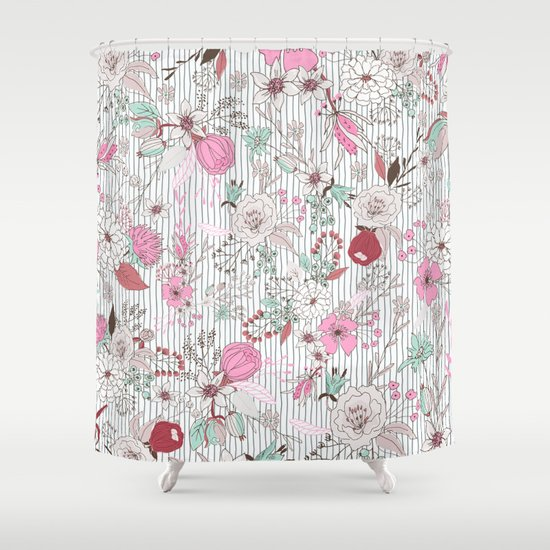 Mauve pink pastel green rustic floral gray stripes Shower Curtain by ...