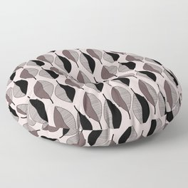 Mauve & black leaves Floor Pillow