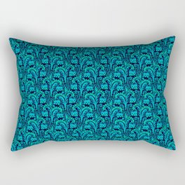 Bluebell Woods, Blue & Turquoise Woodcut Style inspired by William Morris Botanical Pattern Rectangular Pillow