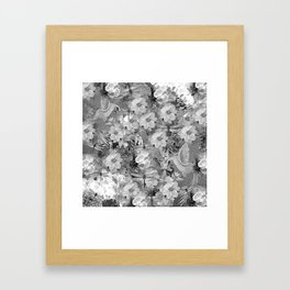 PARROTS MAGNOLIAS ROSES AND HYDRANGEAS TOILE PATTERN IN GRAY AND WHITE Framed Art Print