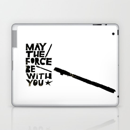 May the Force be with You - Linocut Star Wars Movie Poster Laptop & iPad Skin