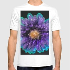 Crystalized Flowers White MEDIUM Mens Fitted Tee