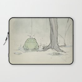 The frog under the rain Laptop Sleeve