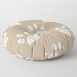 Light brown colored paw print pattern background Floor Pillow