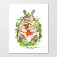 miyazaki Canvas Prints featuring Miyazaki Hug by Super Group Hugs