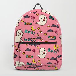 Happy Halloween ghosts, bats, boo and sweets pattern Backpack
