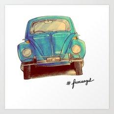 Fusca Azul Art Print