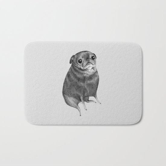 Sweet Black Pug Bath Mat
