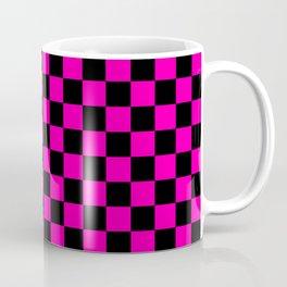 Large Hot Neon Pink and Black Racing Car Check Coffee Mug