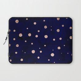 Navy blue watercolor chic rose gold modern confetti polka dots pattern Laptop Sleeve