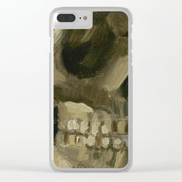 Head of a Skeleton with a Burning Cigarette Clear iPhone Case