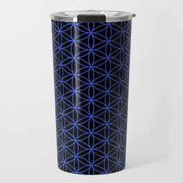 Flower of Life Pattern – Blue on Black Travel Mug