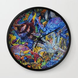 Lobster & Fish Collage Colored Pencil Drawing Wall Clock