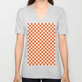 Small Checkered - White and Dark Orange Unisex V-Neck