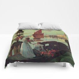 Paris Venice Victorian romantic travel Comforters