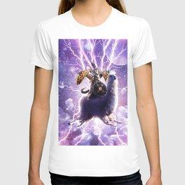Lazer Warrior Space Cat Riding Llama With Taco T-shirt