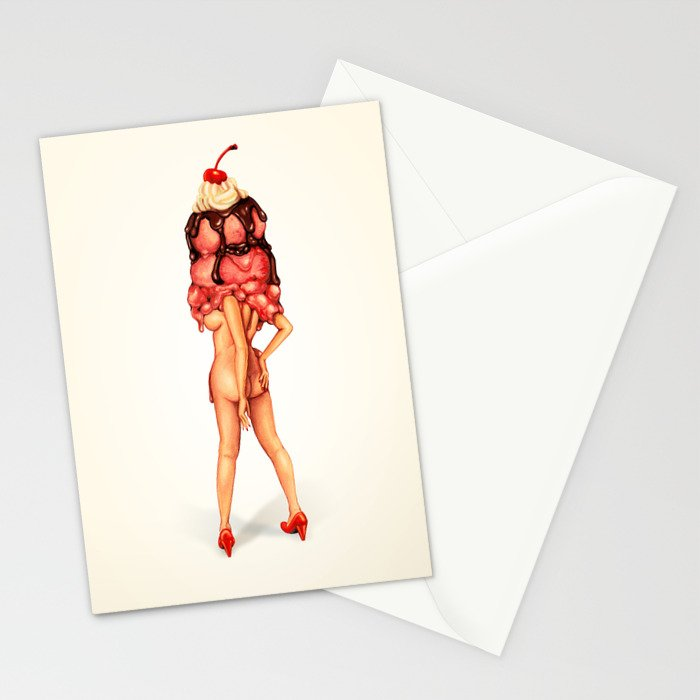 Ice Cream Girl 3 Stationery Cards